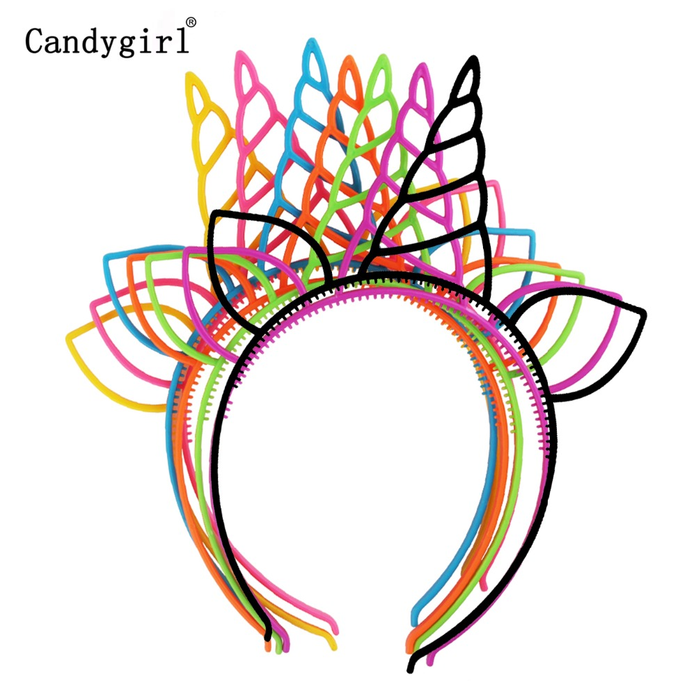 105pcs Plastic Cat Ears Headdress Unicorn Headbands Baby Kid Women Hairbands Party Halloween Easter Hair Accessories Headwear