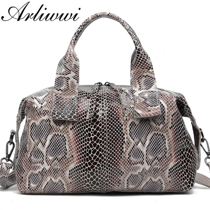 Arliwwi Embossed Handbags Snake Serpentine-Pattern Elegant Female Real-Leather Women's