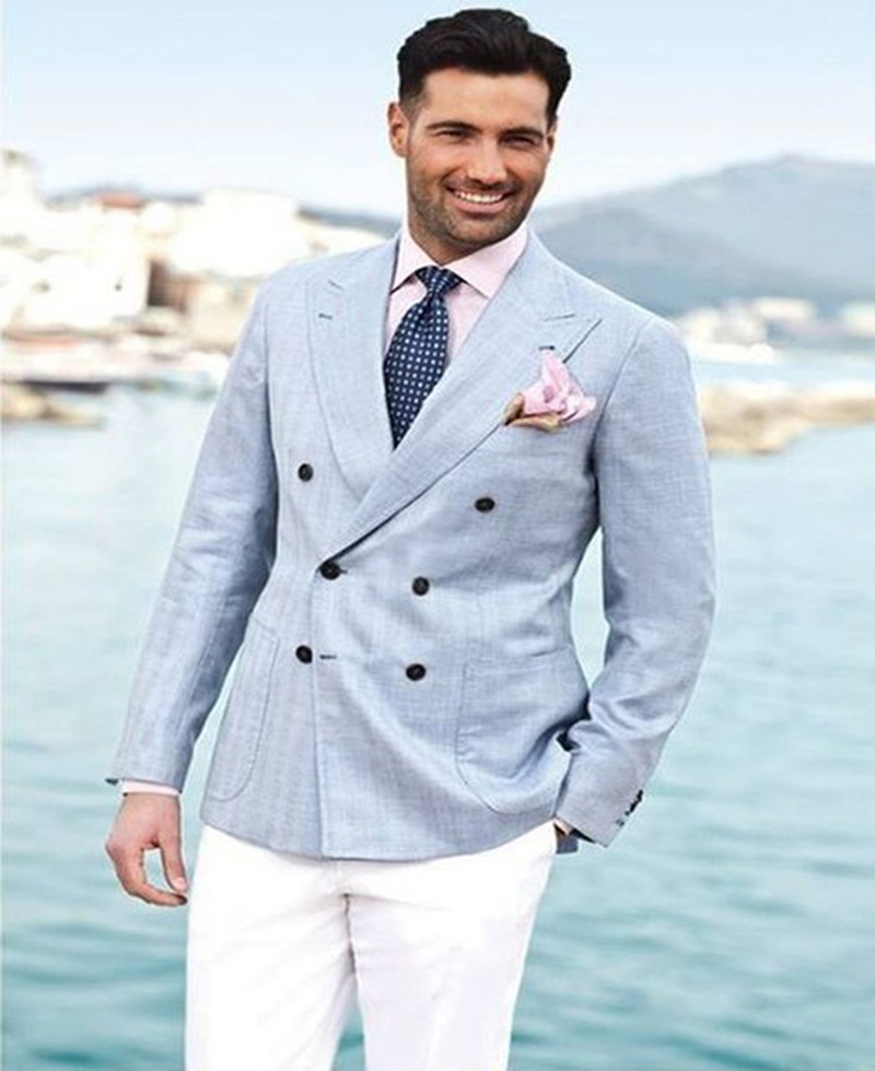 Light Blue Double Breasted men suit 2017 White Pants Groom Tuxedos ...