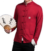 Loldeal Chinese Traditional Badge Embroidery Stand collar Men Shirt Linen Long Sleeve Kung Fu Big Red Plus Size 5XL Luxury Shirt