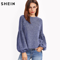 SHEIN Lantern Sleeve Keyhole Back Top Autumn 2017 Womens Casual Long Sleeve Round Neck Blouse Blue