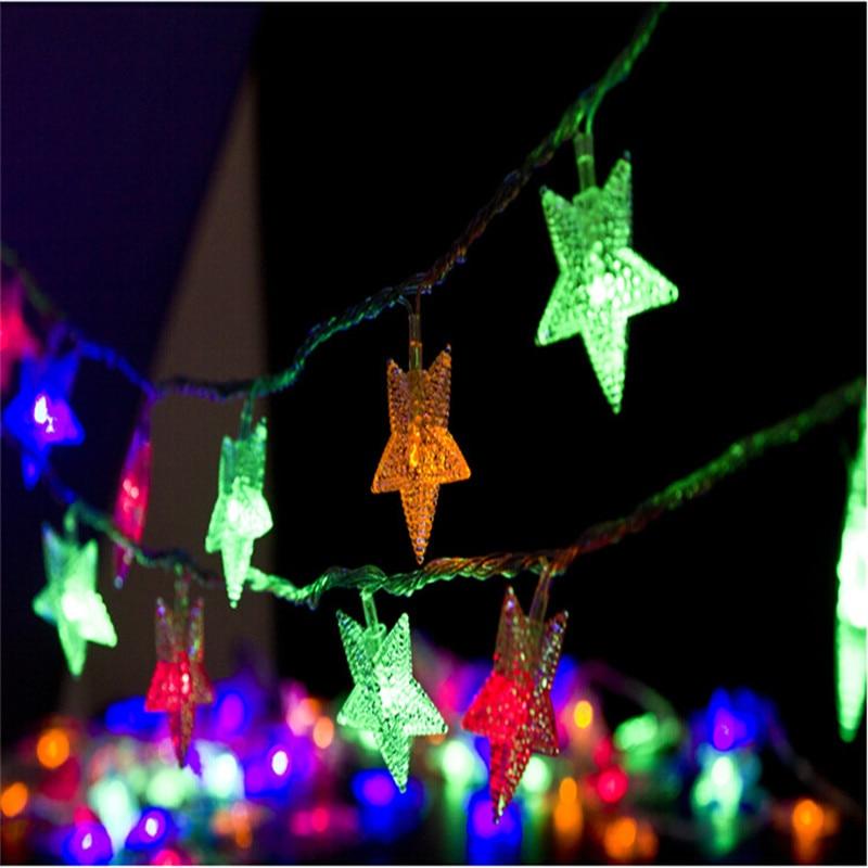 10M 50Led Lights Juletre Snø Stjernepærer Led String Fairy Lys Xmas - Ferie belysning - Bilde 4