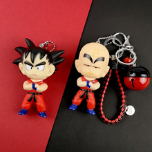 Cute Anime Llavero Dragon Ball Monkey Keychain Goku PVC Key Chain Leather Rope Ring Pompon Fur Pom KeyChains Bag Pendant
