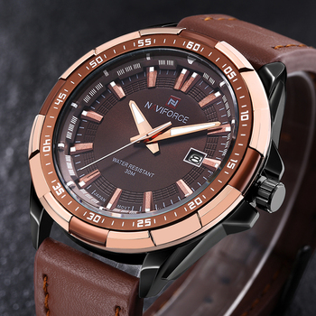 NAVIFORCE Men's Waterproof Calendar Date Military Leather Quartz Watches 2