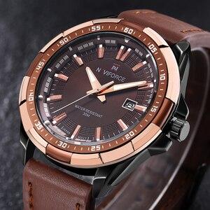 Image 3 - NAVIFORCE relojes deportivos para hombre, de cuarzo, resistente al agua, Cuero militar del ejército