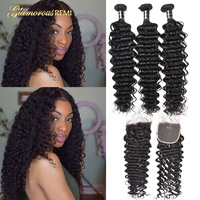 Deep Wave Curly Human Hair 3 Bundles With 4*4 Closure Deep Curly Brazilian Hair Weave Bundles With Lace Closure Hair Extension