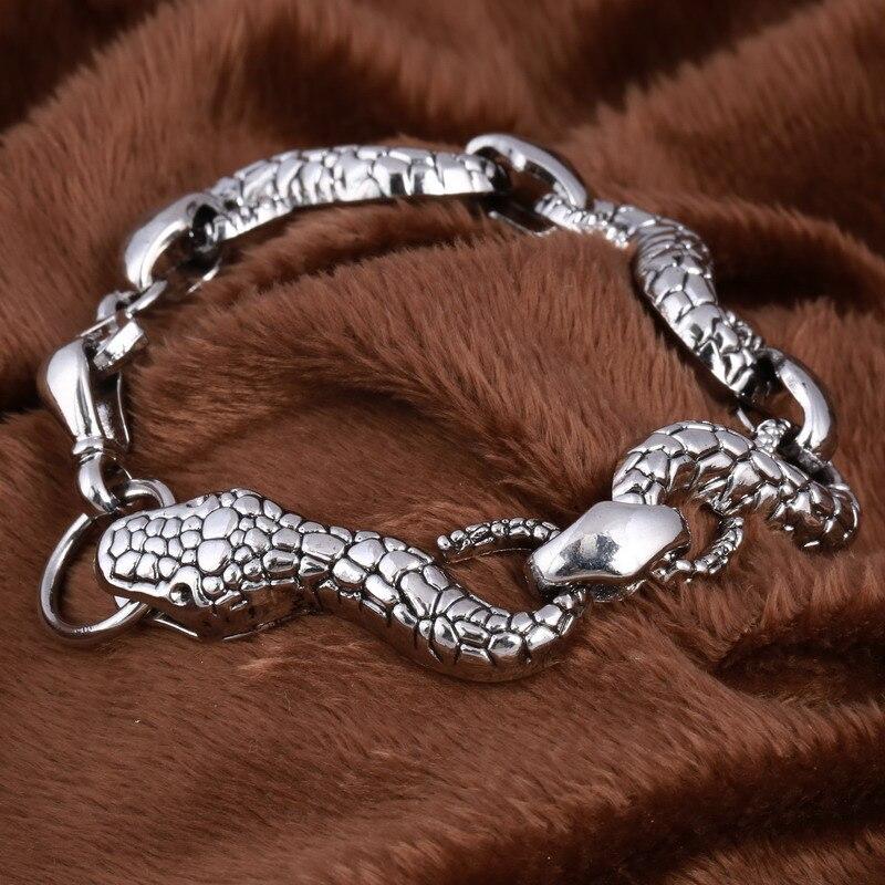 Gothic Punk Snake Beads Bracelets Tibetan Silver Chain