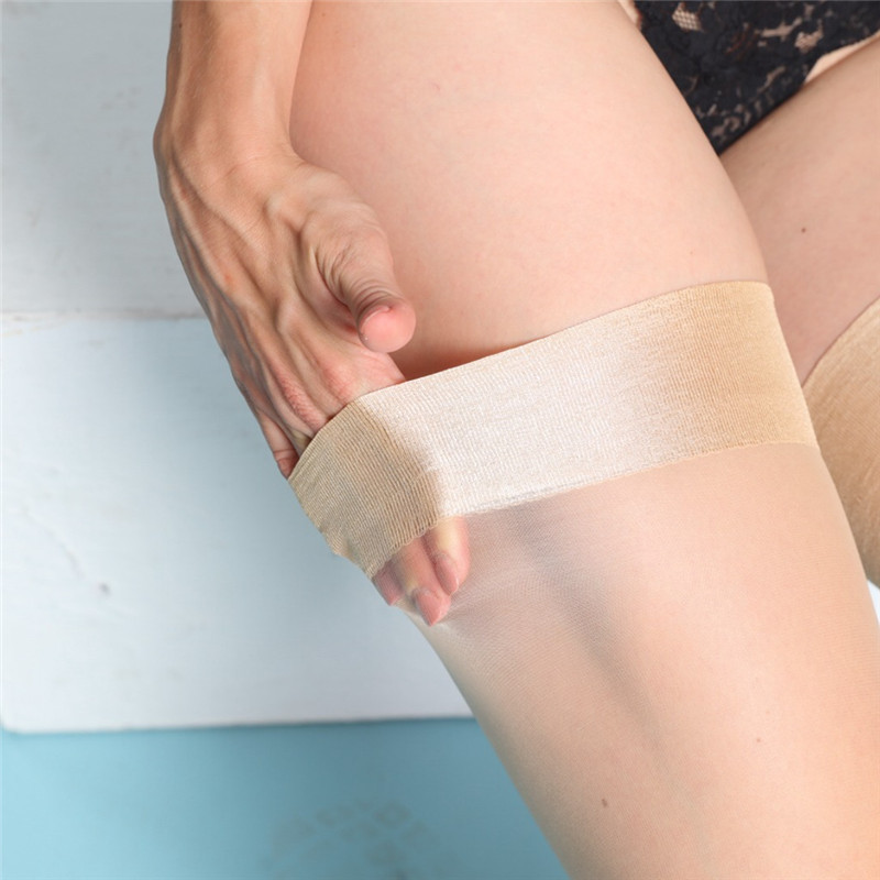 Women Sexy Nylon Stockings 15D Ultra-thin See Through Hold Up Thigh High Stockings Medias For Garters Sexy Lingerie Long Hosiery