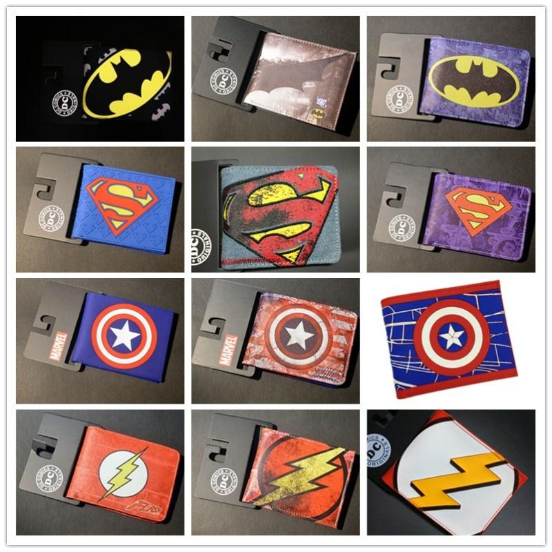Comics DC Marvel The Avengers Batman Superman Spiderman Logo Wallets Collection American Captain Flashman Ironman Purse Muster