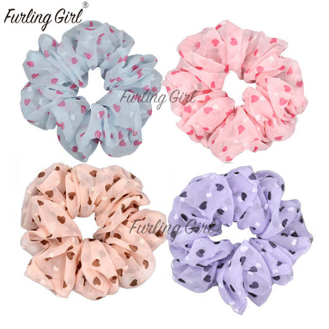 Furling Girl 1PC Love Heart Solid Colorful Chiffon Hair Scrunchie Fancy  Ponytail Holder Hair Ties Hair Accessory 1f8ad97bff7