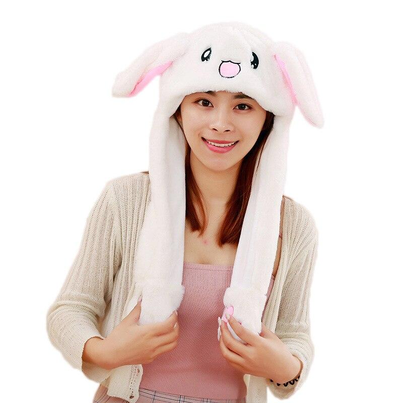 Новинка, Мультяшные шапки с подвижными ушками, милый Игрушечный Кролик, шапка с подушкой безопасности, Kawaii, забавная шапка для девочек, детская плюшевая игрушка, рождественский подарок