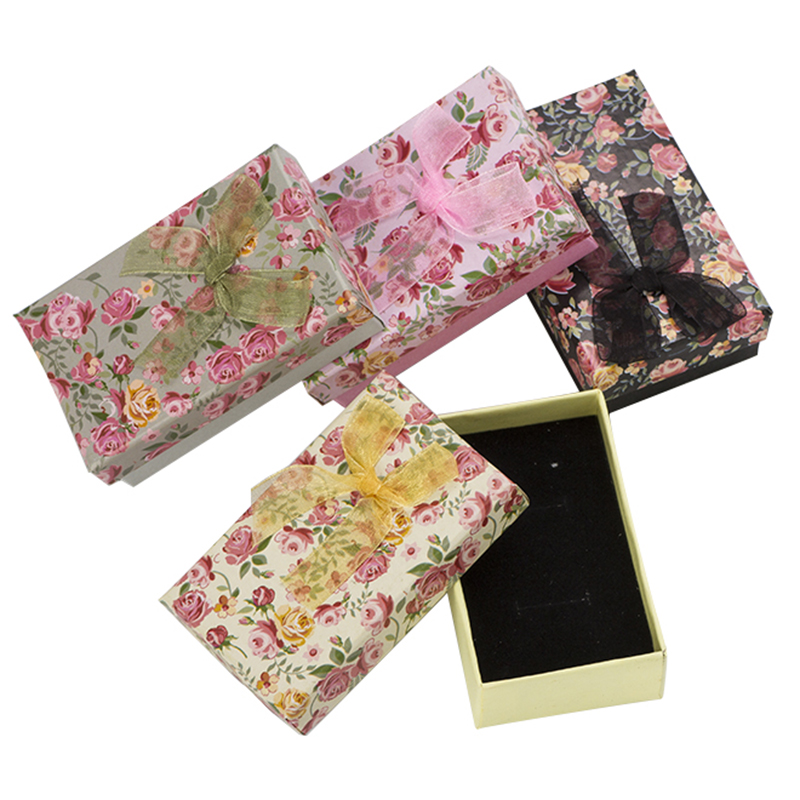 24pcs Cute Jewelry Packaging Display Gift Boxes for Pendant Necklace Earrings Ring 5x8x3cm Flower Paper Jewellery Organizer Case