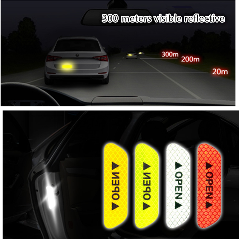 Universal 4Pcs//set Safety Reflective Tape Open Sign Warning Car Door Stickers