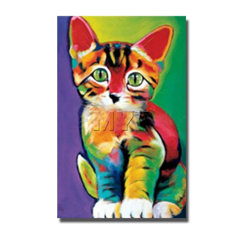 Kleurrijke kat handgeschilderde schilderij kamer hoek decor moderne canvas klaar om muur - Schilderij kamer ontwerp ...