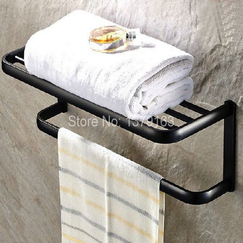 Brass Bathroom Fitting Black Oil Rubbed Bronze Wall Mounted Bathroom Large Towel Holder Towel bar Rack Rail Shelf aba190 oil rubbed bronze square toilet paper holder wall mounted paper basket holder