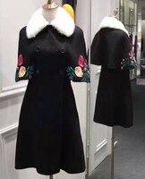 Высокое качество зимнее пальто для женщин, вышивка плащи для женщин, накидка типа abrigos mujer, элегантный casaco feminino, благородный норковый меховой
