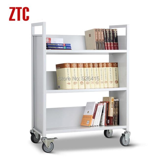 metalen drie plank v vorm boek trolley mobiele bestand winkelwagen bibliotheekboek karren te
