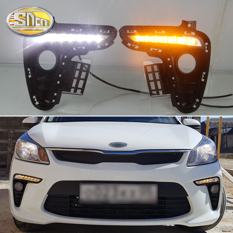 SNCN 2PCS LED Daytime Running Light For Kia Rio K2 2017 2018 Yellow Turn Signal Relay Waterproof ABS 12V DRL Fog Lamp Decoration for suzuki vitara brezza 2015 2016 2017 yellow turn signal function waterproof car drl lamp 12v led daytime running light sncn