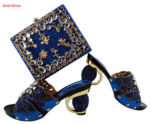 doershow Rblue Ladies Italian Women Shoes and Bag Set Decorated with Rhinestone African Women Italian Shoes and Bag Sets SGF1-29 doershow latest african matching shoes and bag set beautiful design european ladies slipper and bags sets free shipping sgf1 45