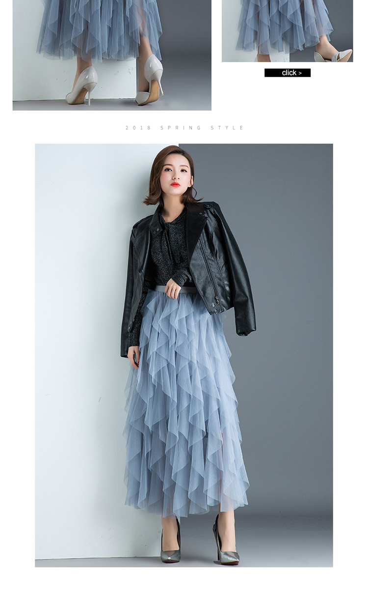 Women irregular Tulle Skirts Fashion Elastic High Waist Mesh Tutu Skirt Pleated Long Skirts Midi Skirt Saias Faldas Jupe Femmle 49