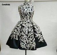 Chic Sleeveless Satin Print Flower A Line White And Black Prom Dress Short Vestidos De Baile