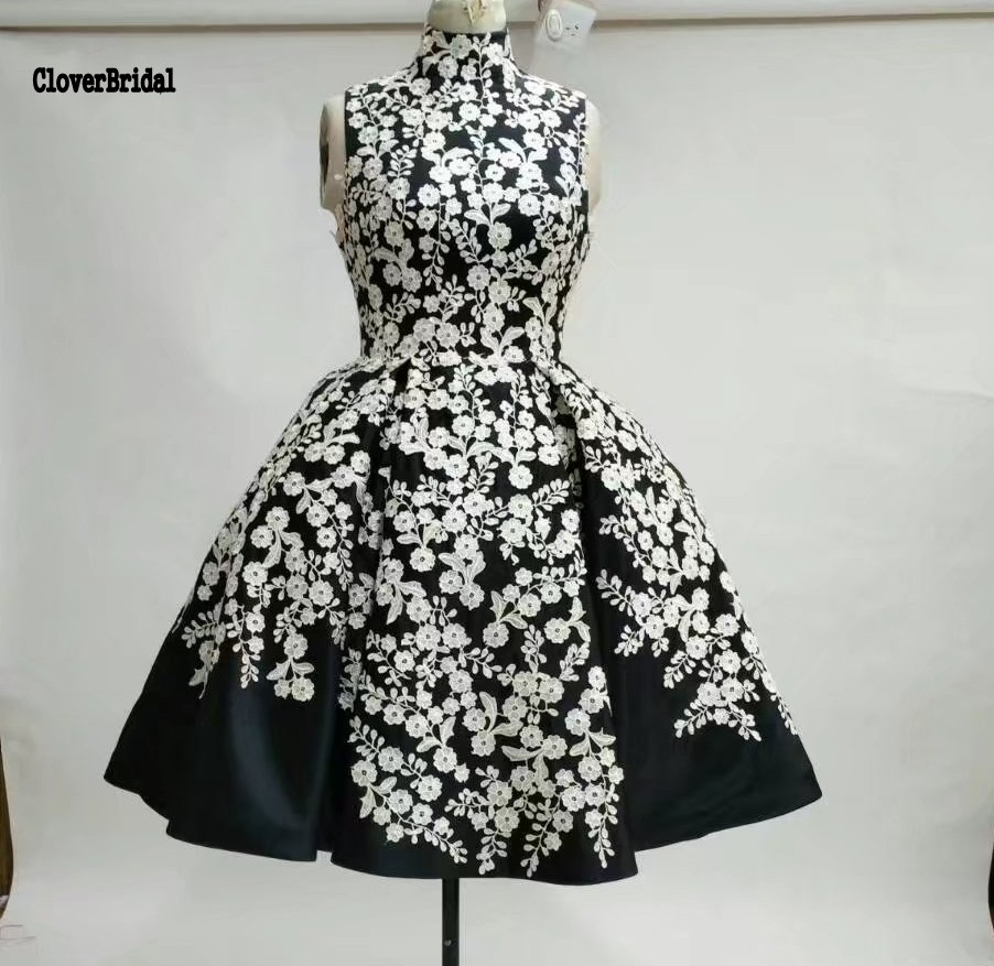 Chic sleeveless satin print flower A-line white and black   prom     dress   short vestidos de baile imported-party-  dress