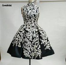 Chic sleeveless satin print flower A-line white and black prom dress short  vestidos de 12ad85b1e6a6