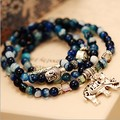 2015 natural agate crystal bracelet female vintage fashion multi-layer blue tourmaline buddha head bracelet