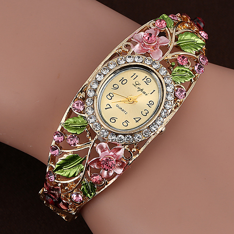 Fashion Multicolor Flower Hollow Out Bracelet Watch Women's Watches Luxury Rhinestone Watch Women Watches Clock relogio feminino meibo brand fashion women hollow flower wristwatch luxury leather strap quartz watch relogio feminino drop shipping gift 2012