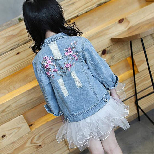 5a9507ca87c4 embroidered flowers hole little big girls denim jacket size 6 12 Gir  Outerwear Spring Autumn 2017 jeans girls coats and jackets