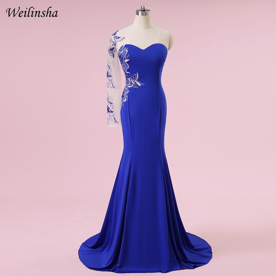 Weilinsha Plus Size Mermaid Evening Dress One Shoulder Royal Blue Sexy Embroidery Applique Formal Evening Gowns Fast Shipping