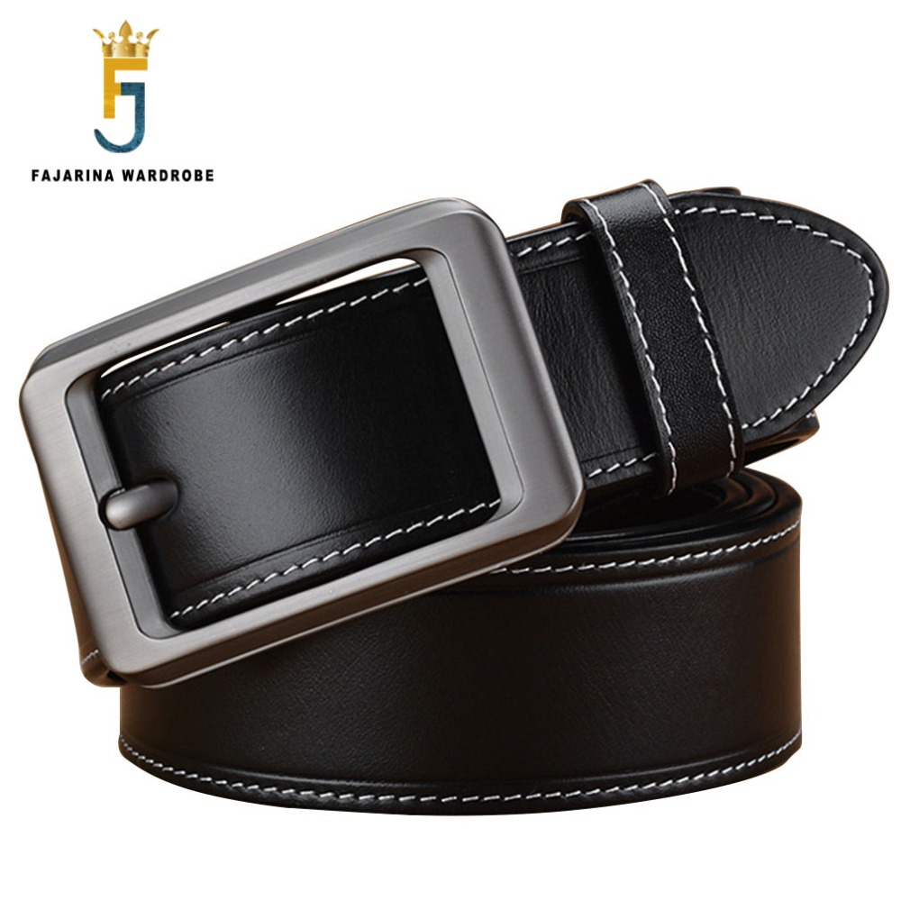 FAJARINA Quality Genuine Leather Belts Mens Casual Design Pin Buckle Belt for Men Strap Male Accessories