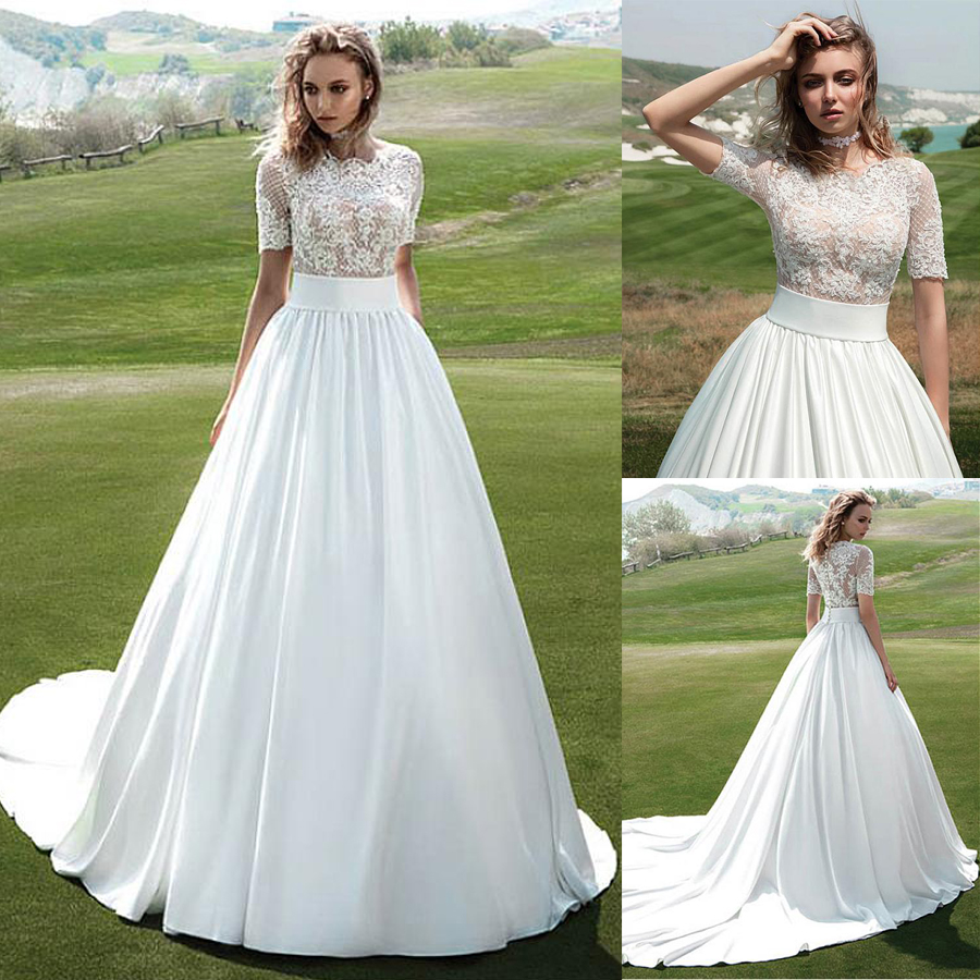 Charming Satin Jewel Neckline See-through A-line Wedding Dress With Beaded Lace Appliques Short Sleeves Bridal Gowns
