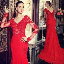 Robe De Soiree 2017 Red Mermaid Prom Kleider Langarm Chiffon Abendkleider Vestido De Festa Sexy V-ausschnitt Appliques perlen