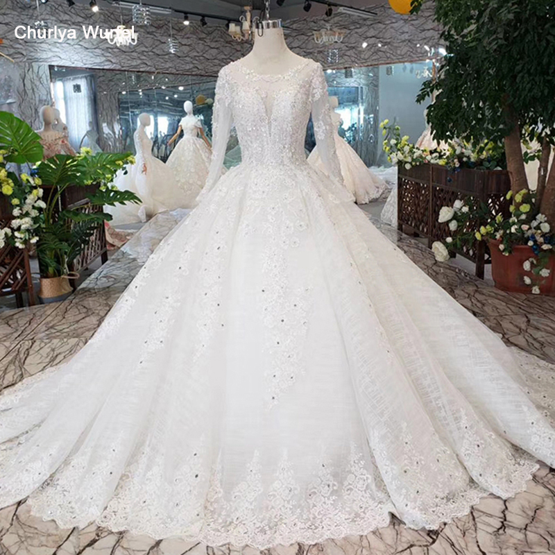 Musim Wedding Dress With Long Sleeve O-neck Lace Up Back Like White Bridal Dress Up Gown Brush Train Abiti Da Sposa 2019 HTL298