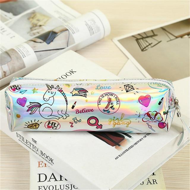 1 piezas/venta Kawaii Halloween lápiz caso iridiscente láser bonito unicornio patrón escuela suministros papelería regalo de Navidad