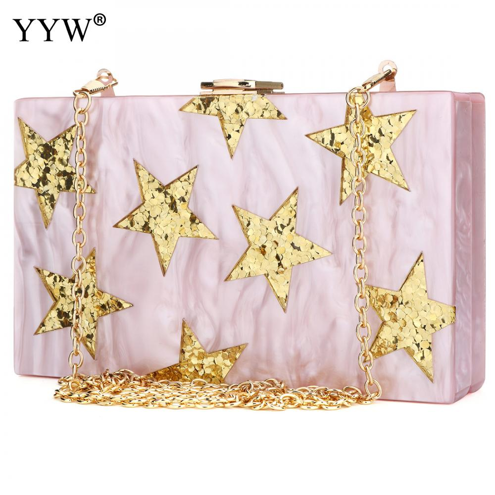 2018 New Elegant Brand Women Shoulder Clutch Bag Fashion Messenger Bag Sequins Acrylic Star Party Evening Shoulder Box Clutch new 2017 women messenger bag brand fashion elegant acrylic eye eveng bag woman party prom shoulder bags cartoon patchwork clutch