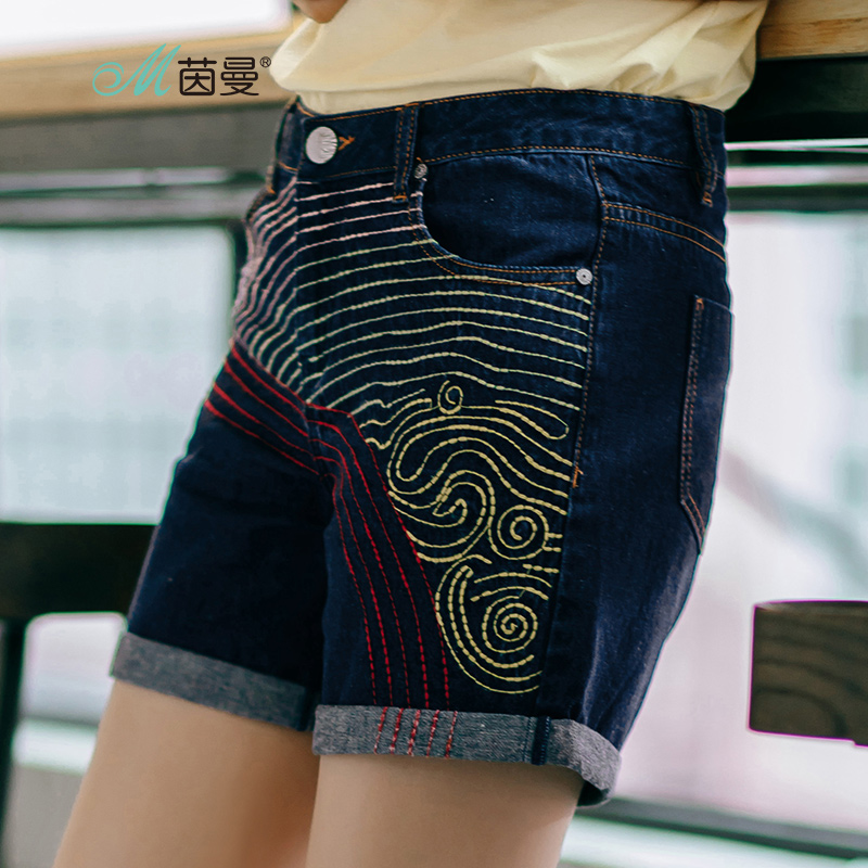 INMAN Women's 2017 Summer new Florals  Mid Waist all-match Embroidered Rolled Denim Shorts all summer long