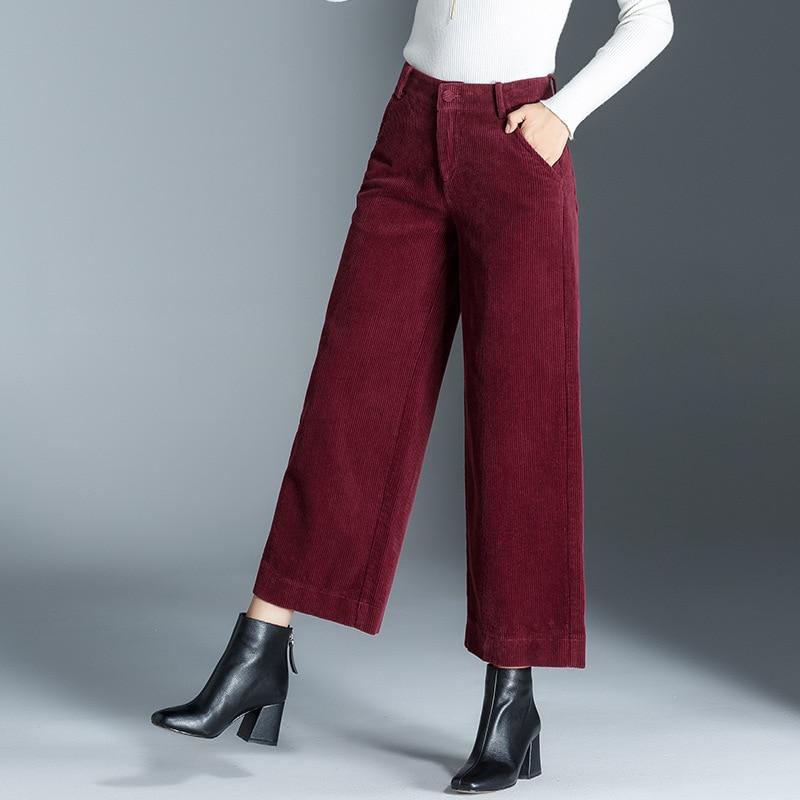 Women's   Pants   New High Waist Corduroy Loose   Wide     Leg     Pants   Women Autumn Winter Straight Trousers Casual Ankle-Length   Pants