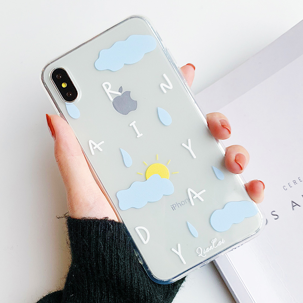 KIPX1102_9_JONSNOW Phone Case For iPhone 6S 7 8 Plus X XR XS Max Rainbow Dog and Rainyday Pattern Clear Soft Silicone Cover Cases