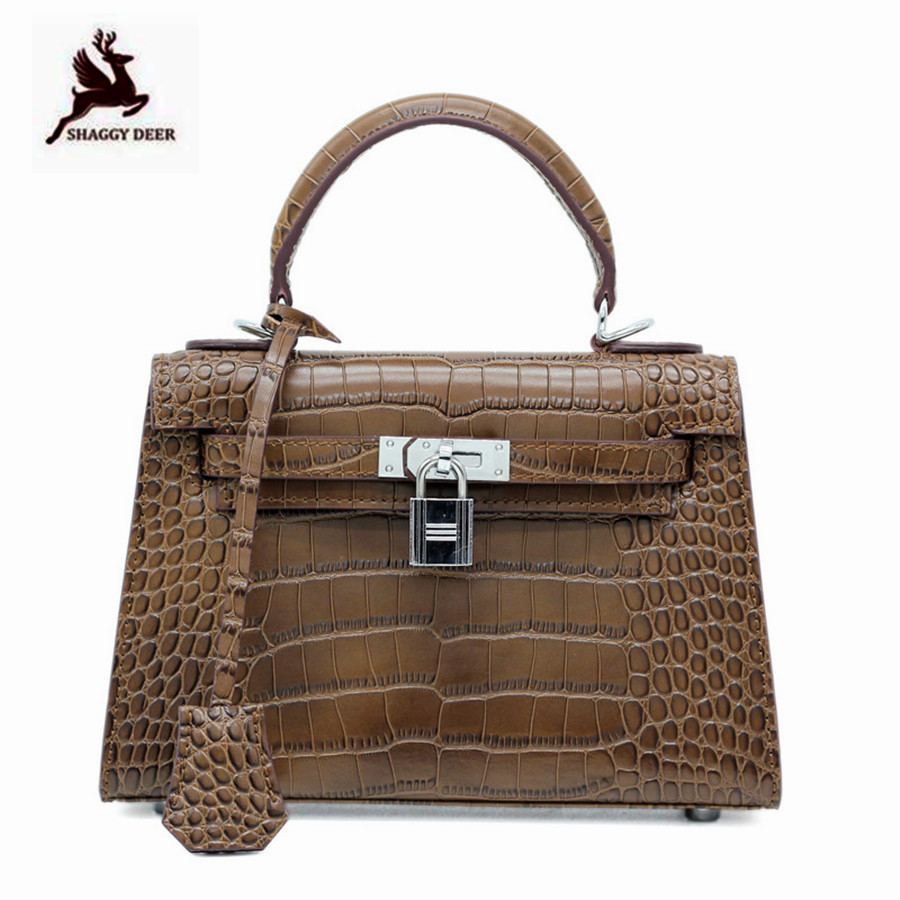2018 New Shaggy Deer Crocodile pattern cowhide High Top Quality Handmade small Kelly shoulder Bag plus size cold shoulder rose pattern top