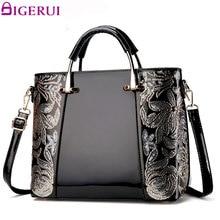 DIGERUI Women Leather Handbag Flower Embroidery Shoulder Bag Black High Quality Vintage Patent Leather Women Totes