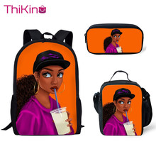 Thikin Children 3D African Black Girls Hairstyle School Bag Set for Boys Girls Teenagers Primary Travel Backpack Kids Book Bags все цены