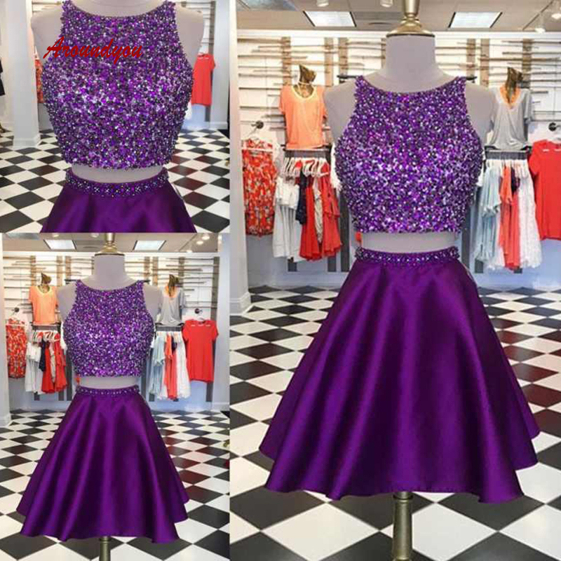 Sexy Purple Short   Cocktail     Dresses   Two 2 Piece Plus Size coktail Mini Semi Formal Graduation Prom Party Homecoming   Dresses