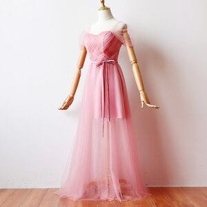 Image 3 - ציפוי פנימי אדום שעועית ורוד שושבינה שמלות אישה שמלות למסיבה וחתונה מקסי שמלה