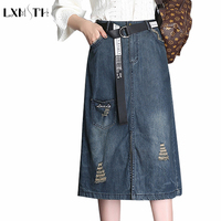 2018 Spring Summer Korea Plus Size Pockets Blue Denim Skirt Women Knee Length Split Belt Skirt A Line Hole Ladies Casual Skirts