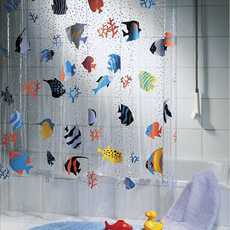 180*200cm PVC Transparent Tropical Fish Bathroom shower curtain Mildew Proof thick waterproof fabric bathroom door curtain