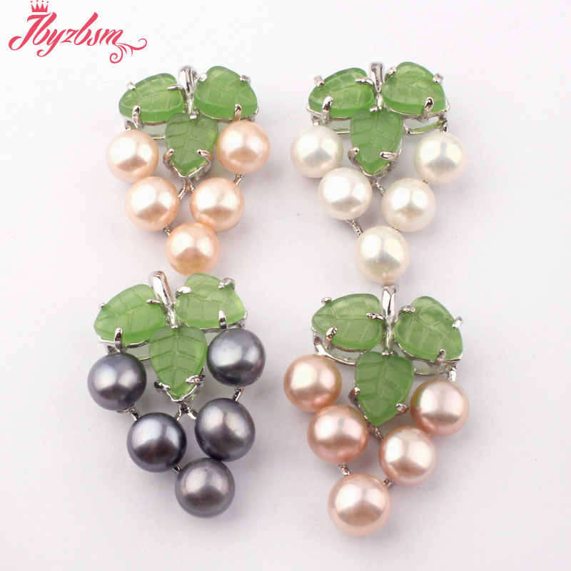8mm Natural Round Freshwater Pearl Beads,Grape Shape White Zinc Alloy Fashion Women Pendant 1Pcs 25x35mm,Wholesale Free Shipping