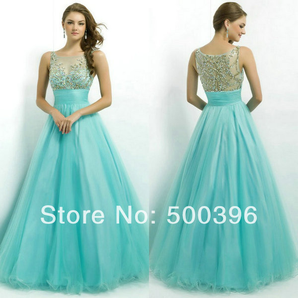 A Line Ice Blue Hot Sell Best Long gowns Evening Prom Dress Special ...