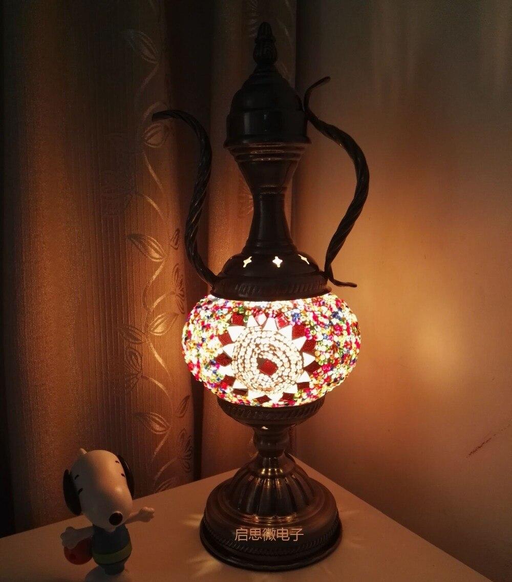 2018 I Più Nuovi E14 intarsiato A mano in vetro mosaico di Stile Marocco soggiorno camera da letto luce Lampada Da Tavolo decorativa Turco Lampe